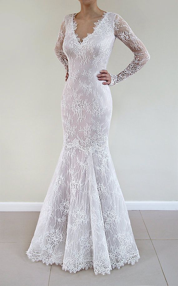 Delicate Lace Appliqued Wedding Dress with Belt & Buttons
