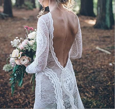 Woodland Fairy Wedding Dress with Exquisite Lace Appliques