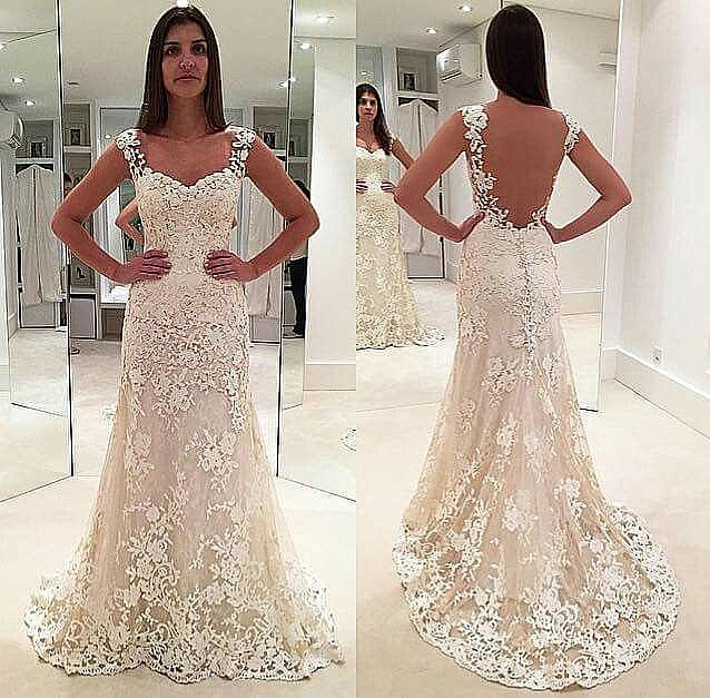 Backless Mermaid Wedding Dresses With Lace Straps