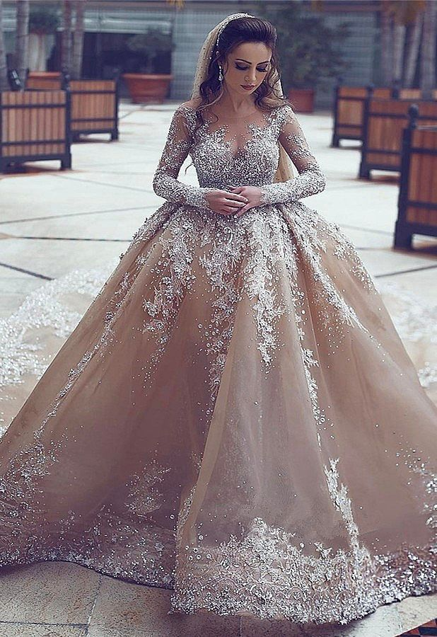 Luxurious Champagne Organza Ball Gown Wedding Dress With Beadings