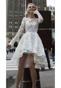Cute Short Hi lo Lace Wedding Dress with Open Back