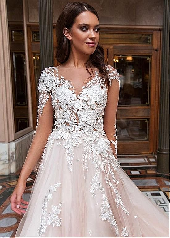 Stunning Champagne Wedding Dress with 3D Floral Appliques