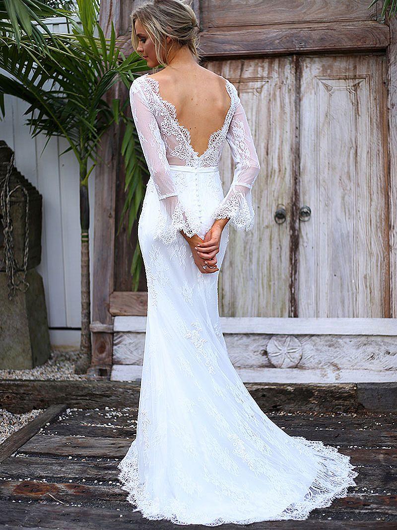 See through boho wedding dress casual bridal gowns for Boho casual wedding dress